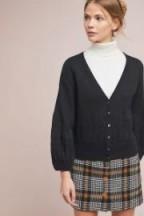 Anthropologie Dame Cardigan in Black | feminine balloon sleeved cardigans