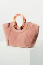 Anthropologie Ursula Lucite-Handled Tote Bag in Rose | soft-pink suede handbags
