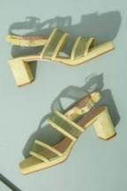 About Arianne Pruna Mesh-Trimmed Suede Heels in Yellow   spring block-heel slingbacks
