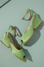 About Arianne Diane Matcha Silk Heels in Guacamole   green luxe sandals