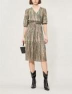 BA&SH Star striped woven dress in green ~ shimmering fabrics