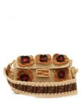 FENDI Baguette floral-crochet raffia bag in beige ~ luxe retro handbag