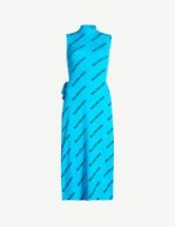 BALENCIAGA Logo-print ribbed knitted dress in turquoise / black | designer knitwear