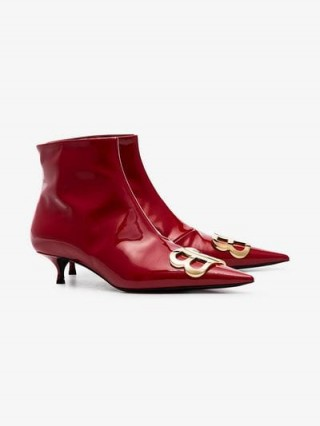 Balenciaga Red BB 40 Patent Leather Ankle Boots – kitten heel booties