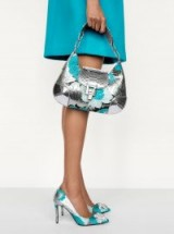 KORS COLLECTION Bancroft Medium Floral Brocade Shoulder Bag in Aqua | metallic bags