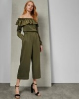 Ted Baker MICHALE Bardot ruffle jumpsuit in khaki