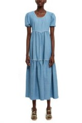 BATSHEVA EMPIRE DRESS in Denim | puff sleeved prairie dresses