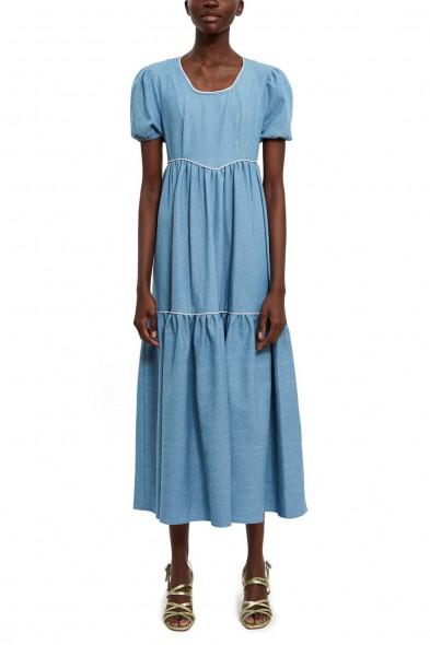 BATSHEVA EMPIRE DRESS in Denim   puff sleeved prairie dresses