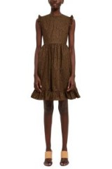 BATSHEVA JUMPER DRESS in Brown Floral | short sleeved prairie dresses