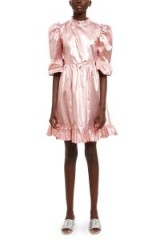 BATSHEVA LAMÉ PRAIRIE DRESS in Pink | metallic puff sleeved dresses