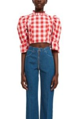 BATSHEVA SIMPLE RUFFLE TOP in Red Gingham ~ checked prairie blouse