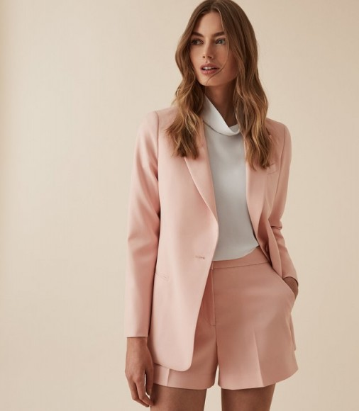 BEATRIX JACKET TEXTURED BLAZER SOFT PINK ~ feminine jacket
