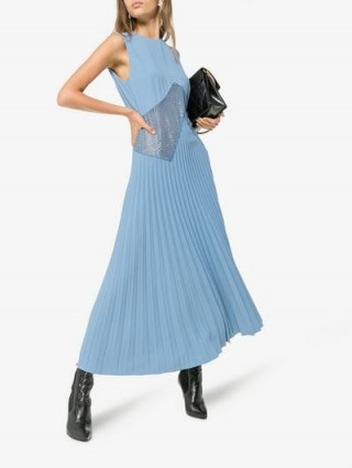 Beaufille Delaunay Lace Insert Dress in Blue ~ chic pleats
