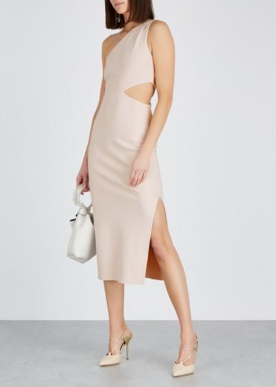 BEC & BRIDGE Lessandra taupe one-shoulder dress ~ evening glamour