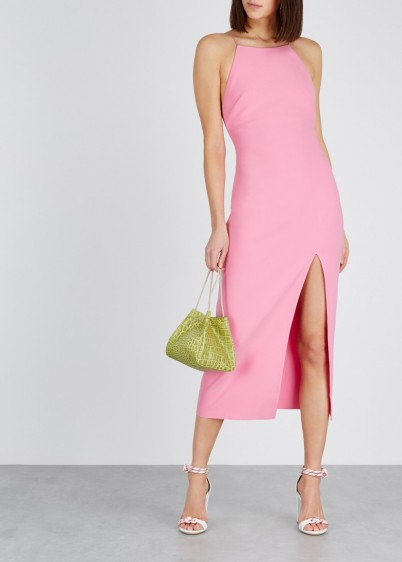 BEC & BRIDGE Margaux pink stretch-cady midi dress ~ effortless party glamour