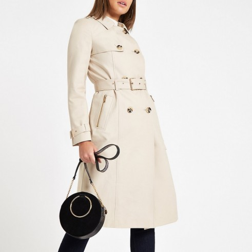 RIVER ISLAND Beige double breasted belted trench coat ~ classic mac