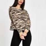 River Island Beige zebra print sweatshirt ~ casual glamour