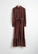 & other stories Belted Ruffle Midi Dress in Burgundy | prairie dresses