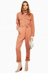 TOPSHOP Belted Utility Boiler Suit in Rose – utilitarian fashion