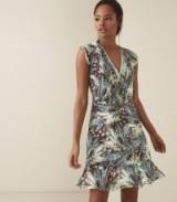 REISS BERTIE GRASS PRINTED DAY DRESS GREEN/BLACK ~ spring clothing
