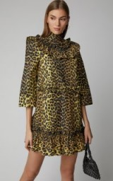 Ganni Bijou Ruffled Animal-Print Mini Dress ~ glamorous style clothing
