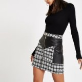 RIVER ISLAND Black boucle faux leather trim zip mini skirt ~ tweed skirts
