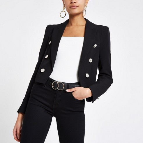 RIVER ISLAND Black button front cropped blazer – chic jackets
