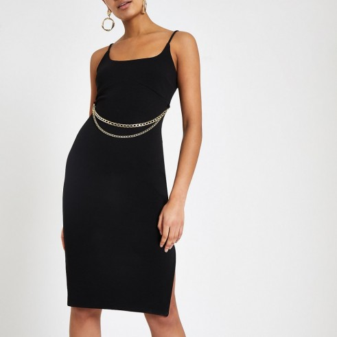 River Island Black chain belt bodycon midi dress ~ strappy lbd