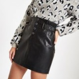 River Island Black faux leather button front mini skirt | gathered paperbag waist skirts
