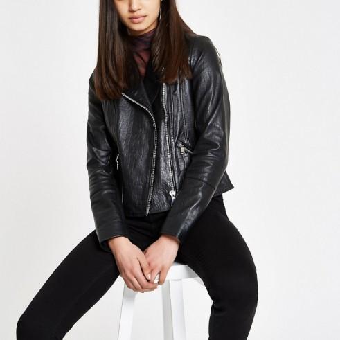 RIVER ISLAND Black leather croc biker jacket – cool jackets