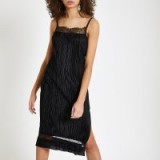 River Island Black plisse lace trim slip dress | lacy cami frock