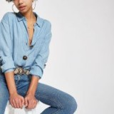 River Island Blue button down front denim shirt | casual fashion