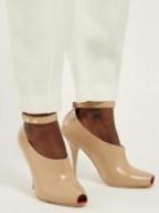 BURBERRY Blyth peep-toe crocodile-effect beige leather pumps