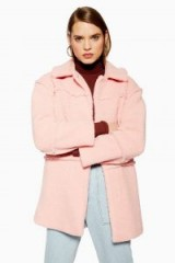 TOPSHOP Borg Coat in pink / pastel coats
