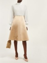 PRADA Bow-detail beige silk-satin skirt ~ luxe A-line skirts