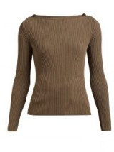MAX MARA Braida sweater in khaki-brown ~ ribbed boat-neck sweaters
