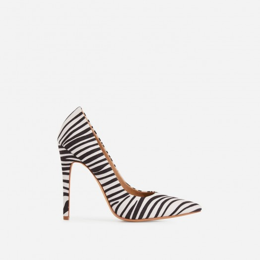 EGO Bronte Court Heel In Zebra Print Faux Suede ~ monochrome glamour