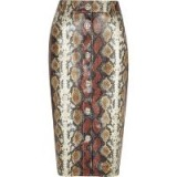 RIVER ISLAND Brown faux leather snake print pencil skirt – reptile prints