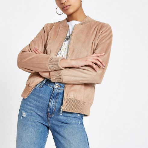 RIVER ISLAND Brown faux suede bomber jacket ~ casual style ~ colour trend