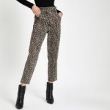 River Island Brown leopard print paperbag jeans ~ animal print denim
