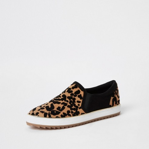 RIVER ISLAND Brown leopard print slip on trainers ~ trending colour ~ animal prints