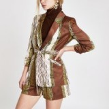 River Island Brown mixed print belted ruched blazer ~ wild animal prints