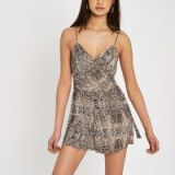 River Island Brown snake print plisse playsuit ~ reptile printed playsuits