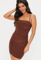 MISSGUIDED brown strappy slinky ruched bodycon mini dress – thin strap bodycon