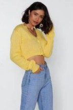 nasty gal Button Cropped Cardigan in lemon ~ yellow cardi