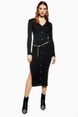 Topshop Button Knitted Dress in Black | chic knitwear
