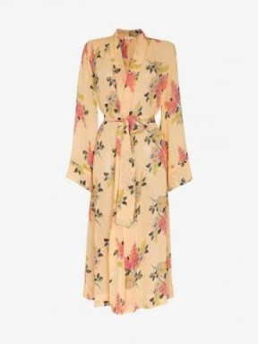 By Timo Lilacs Floral Belted Midi Dress in Yellow / wrap style dresses - flipped