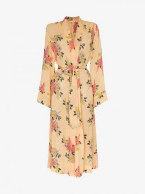By Timo Lilacs Floral Belted Midi Dress in Yellow / wrap style dresses