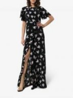 By Timo Small Bouquet Front Slit Maxi Dress in Black / long floral dresses