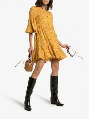 By Timo Sunshine Button Down Front Dress in Yellow / flared floral print frock - flipped